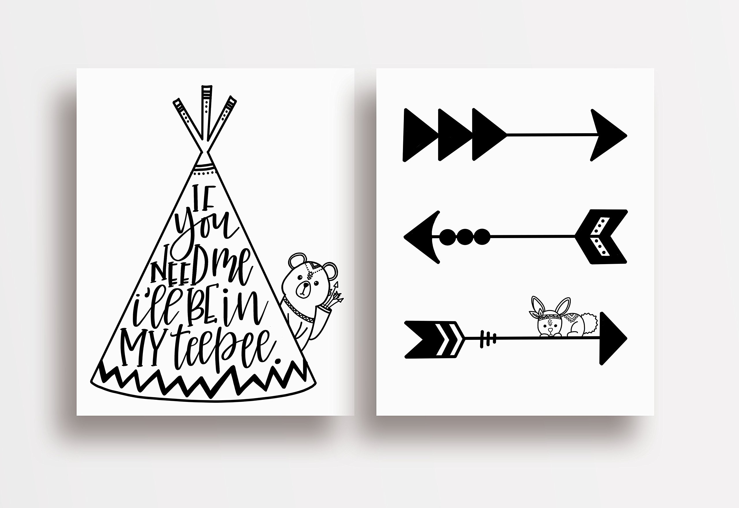 Two Piece Cardstock Nursery Prints 8.5 x11 ''Black and White Teepee''