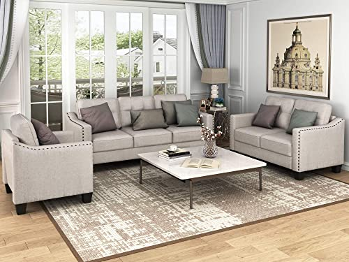 Harper Bright Designs Living Room 3 Piece Sofa Couch Set,3 Seats Loveseat Single Chair Sectional Sofa Set, Beige