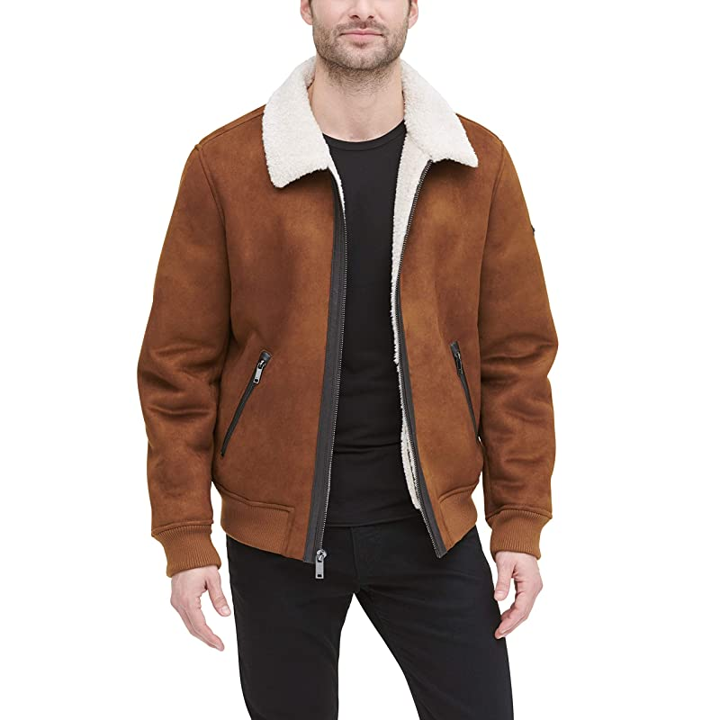 DKNY Men's Shearling Bomber Jacket