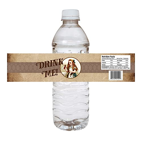 Alice In Wonderland Party Water Bottle Labels - Set of 12