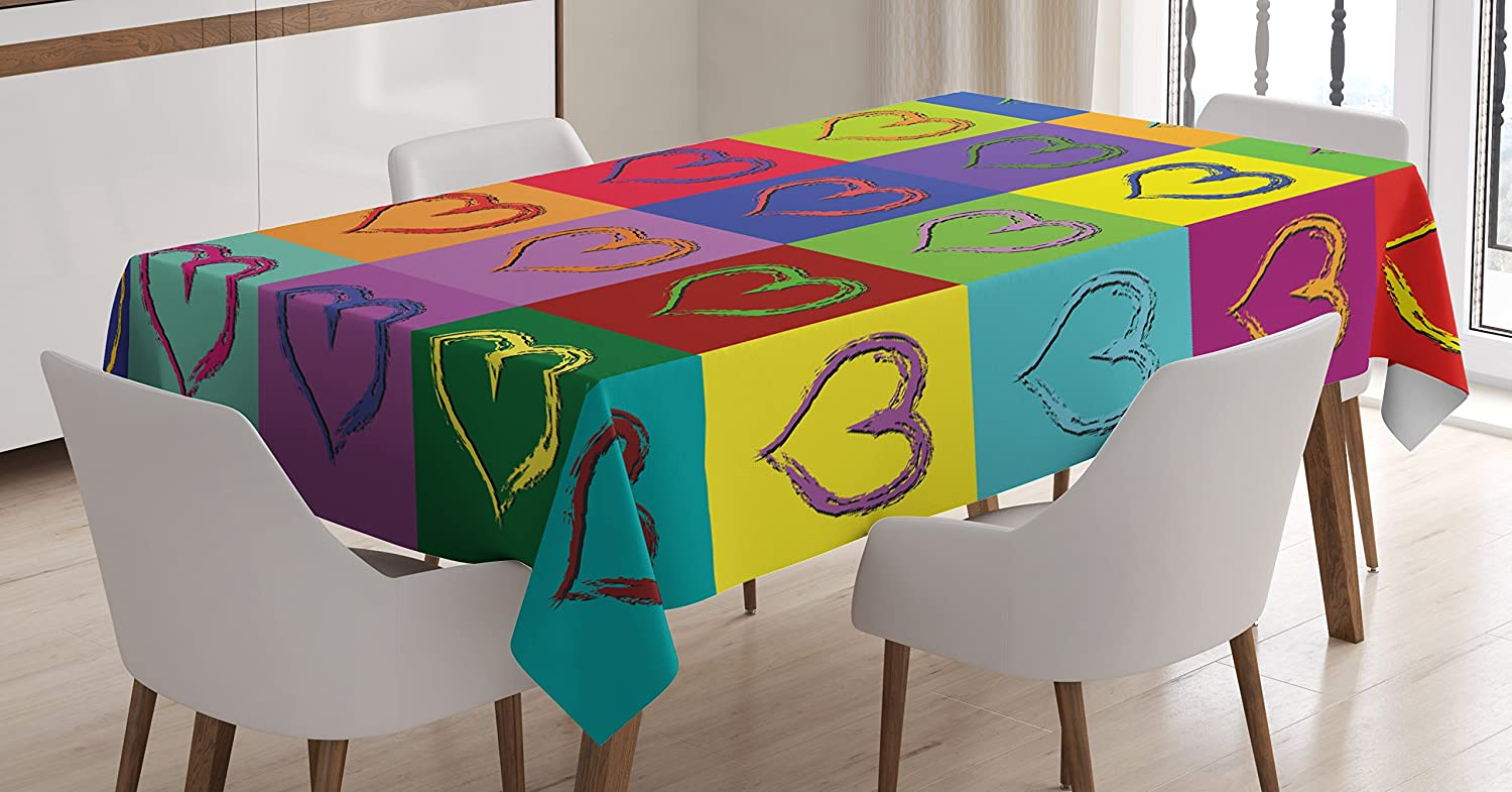 Ambesonne Art Tablecloth Warholesque Vivid Hearts In Colorful Squares Pop Inspired Artwork Sixties Retro Dining Room Kitchen Rectangular Table Cover