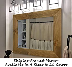 Shiplap Large Wood Framed Mirror Available in 4 Sizes and 20 Colors: Shown in Driftwood Stain - Large Wall Mirror - Rustic Barnwood Style - Mirror Wall - Mirror Vanity - Mirror Decor
