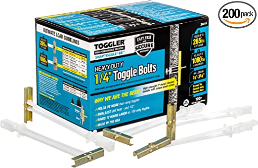 "Toggler Snaptoggle 50 Pack 1//4/""-20/"" BA Toggle Bolt"