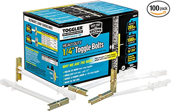 Simpson Strong-Tie FT25250C25 1//4-20 FlipToggle Anchor with 2-1//2 Bolt 75 Count 3 Packs // 25 Each