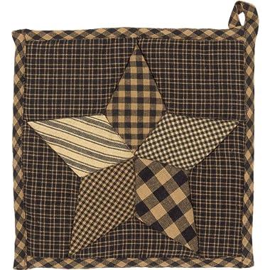 VHC Brands Classic Country Primitive Tabletop & Kitchen - Farmhouse Star Black Pot Holder, 8  x 8