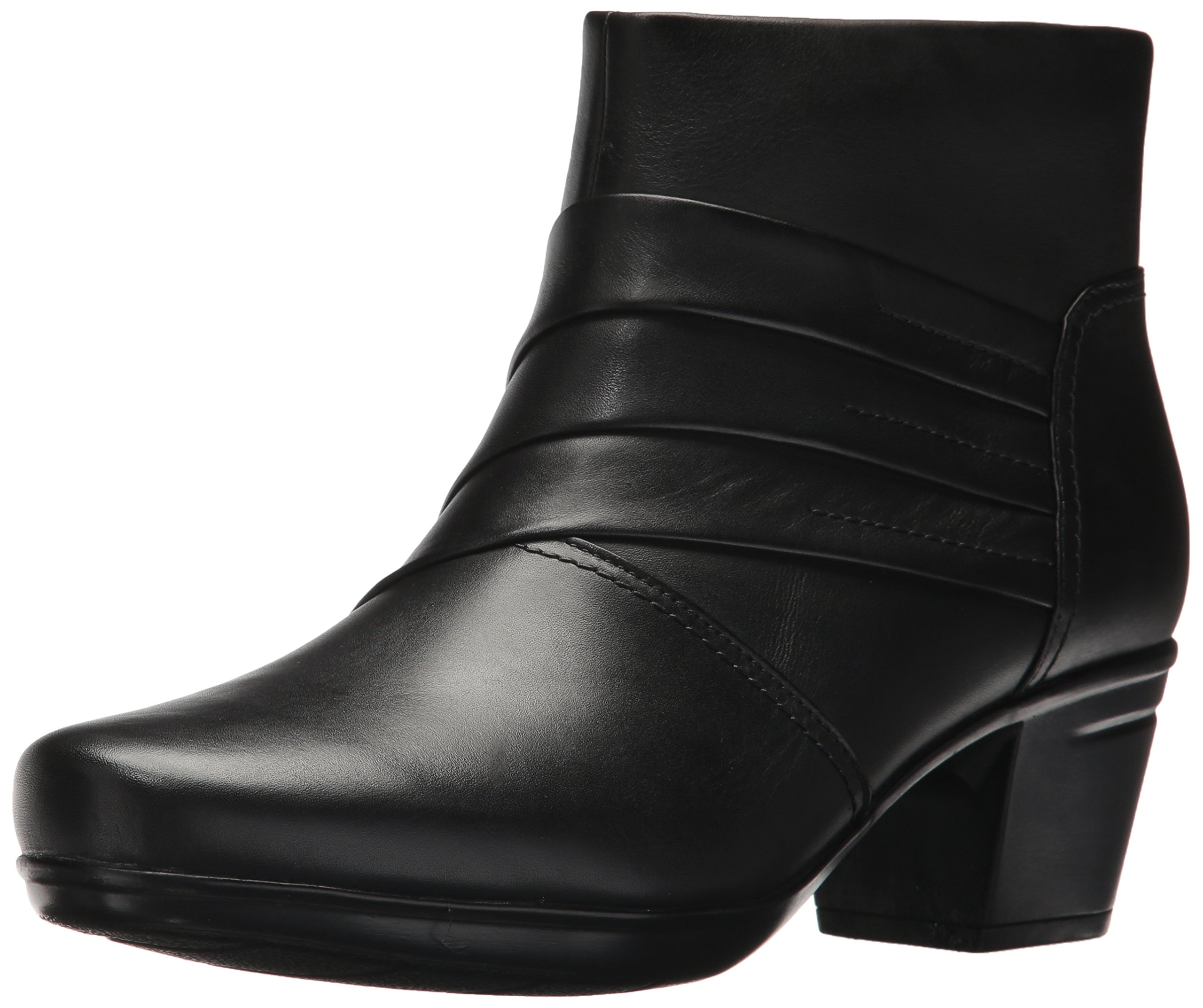 Clarks Women's Emslie Moxie Ankle Bootie, Black Leather, 9 M US