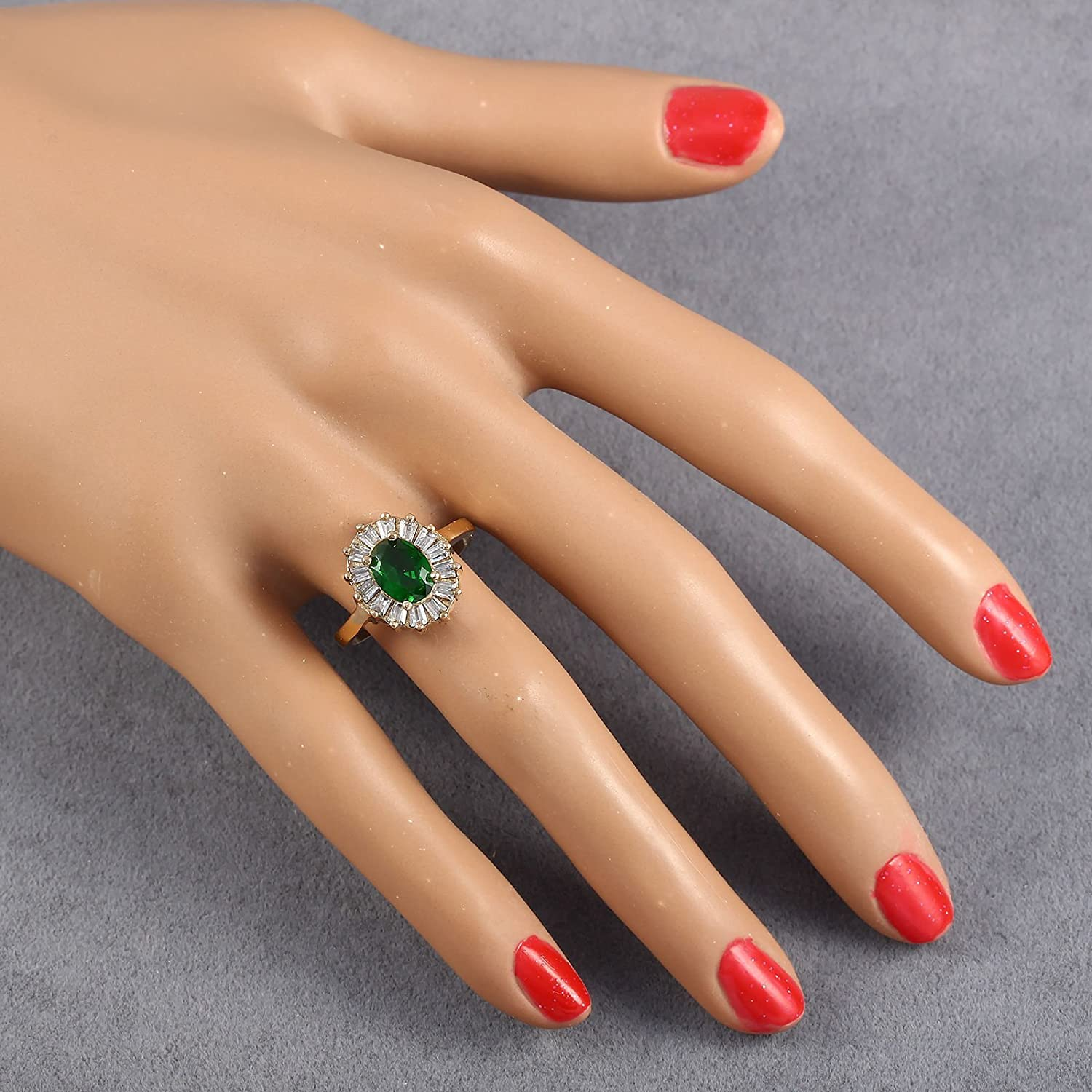 Green Cubic Zirconia Stone and 925 Sterling Size 8 Handmade Women Bronze and Silver Ring