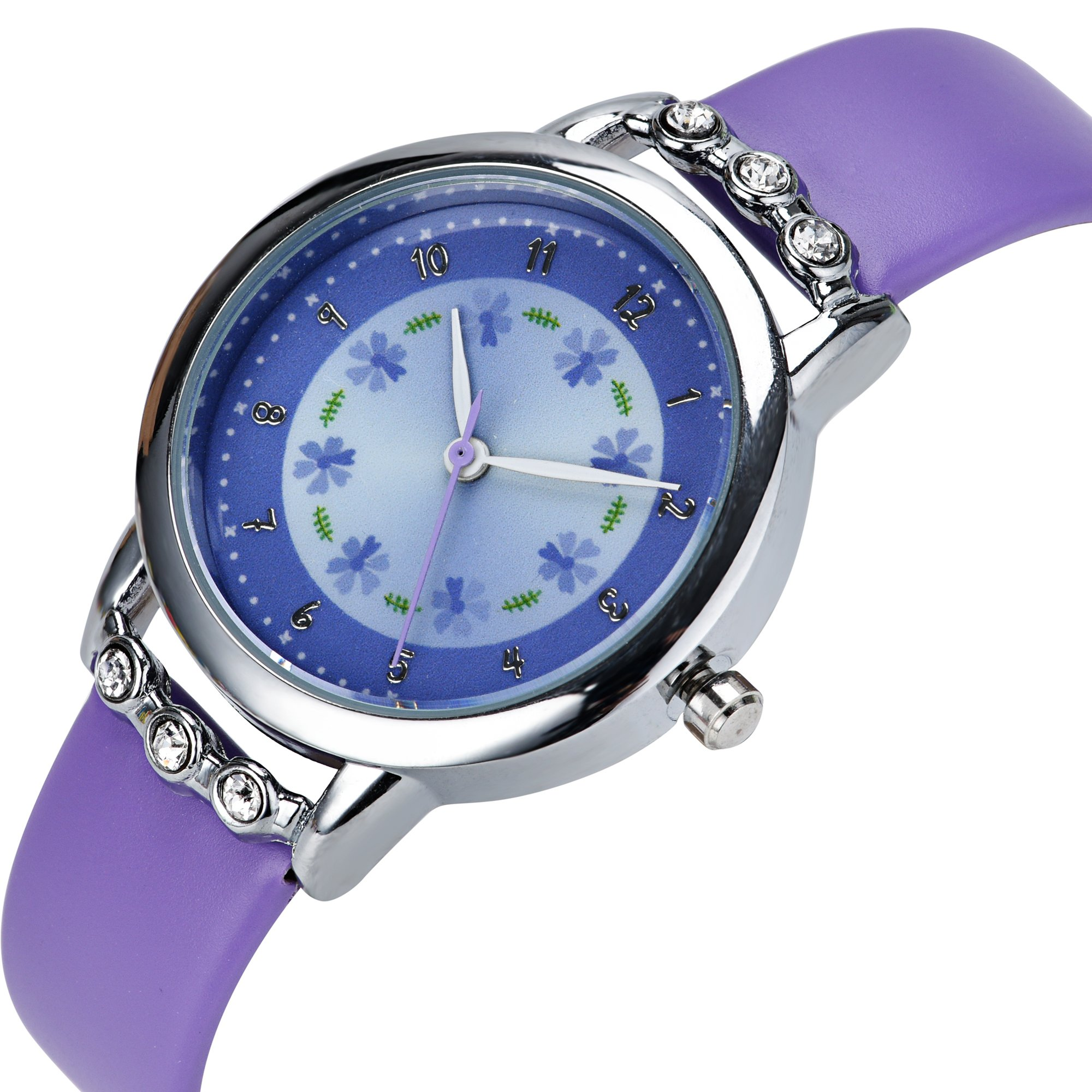Dovoda girl watches easy reader time teacher flowers diamond purple leather band kids watch amazon for Dovoda watches