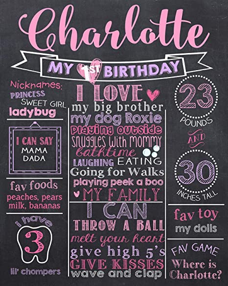 Pizarra personalizada para primer cumpleaños, diseño de ...