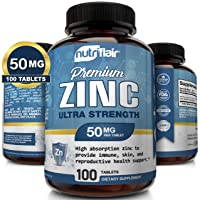 NutriFlair Zinc Gluconate 50mg, 100 Tablets - High Potency Immune System Booster...