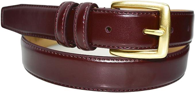 0211 Toneka Classic Men's Brass Buckle Feather Edge Leather Dress Belt