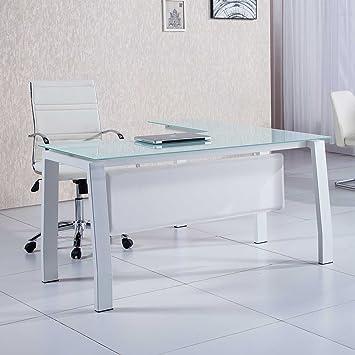 Mesa de despacho 150 cm modelo BLAKE con estructura metálica y cristal templado color blanco - Sedutahome: Amazon.es: Hogar