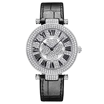 Princess Butterfly Luxury Watches for Women Austria Crystal Roman Numeral Display Revolving Clover Dial Mineral Glass