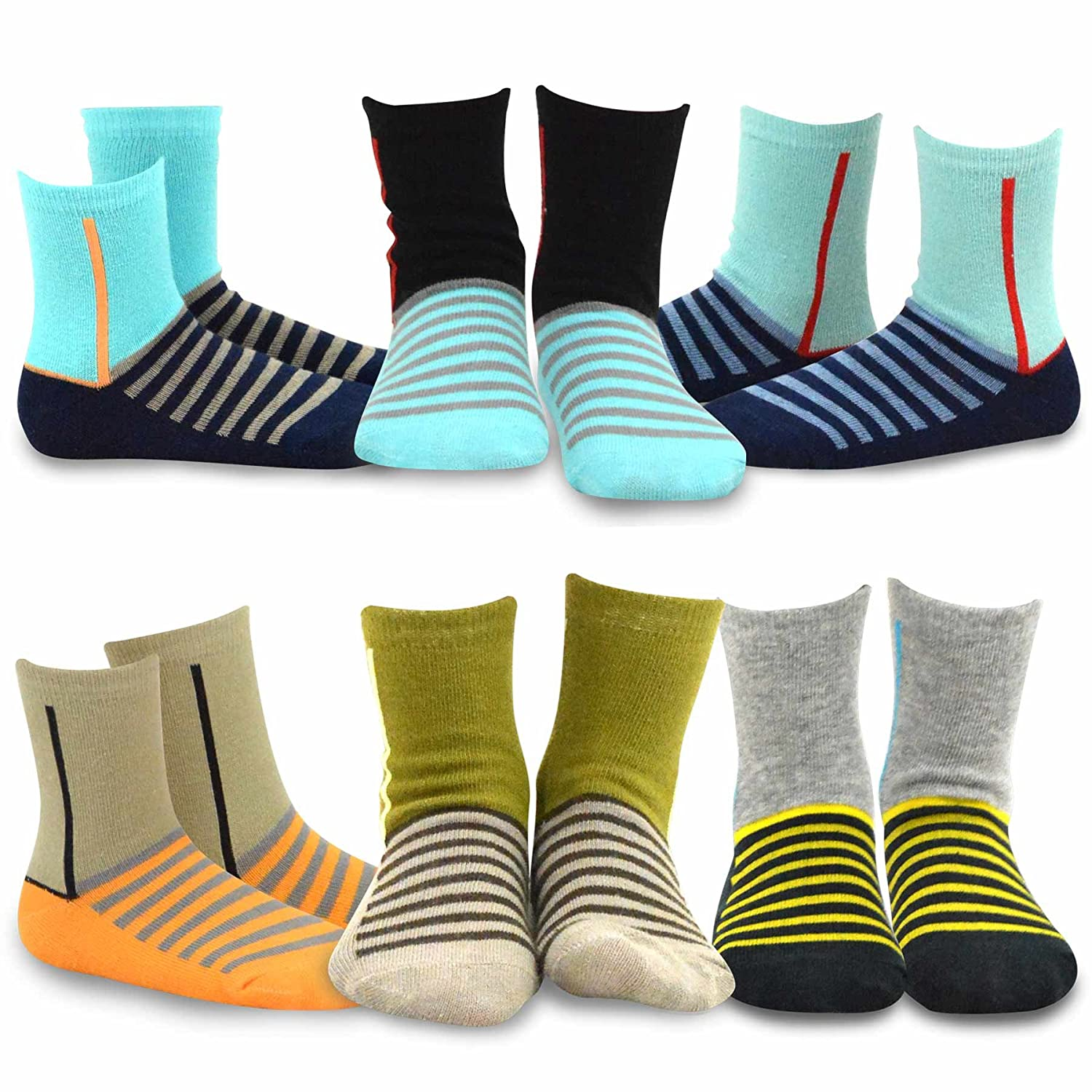 TeeHee (Naartjie) Kids Boys Fashion Fun Cotton Crew Socks 6 Pair Pack