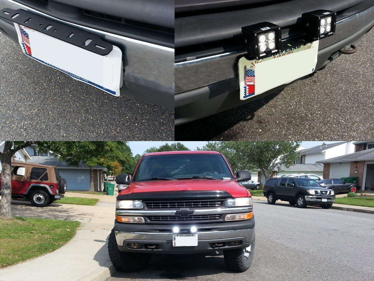 TOPNEW Universal License Plate Mounting Bracket Steel for 6 7 12 17 20 Led Light Bar Spot Lights for Suv Car 4x4 Jeep