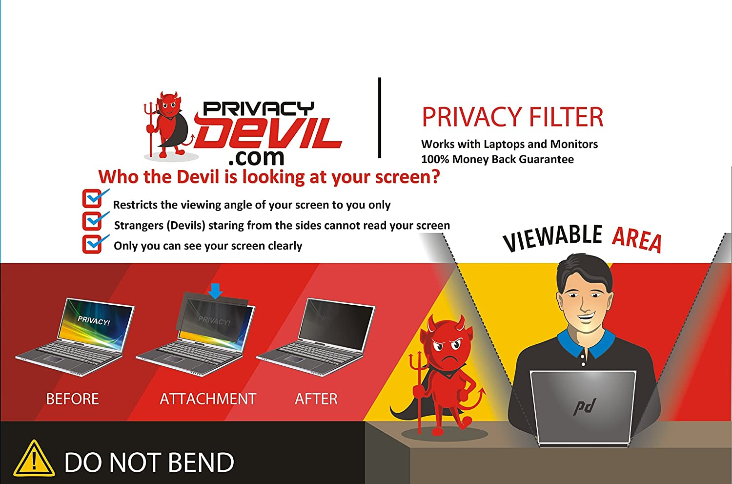 """PrivacyDevil Privacy Screen for Monitors Privacy Filter for 18.1"""" Display"""