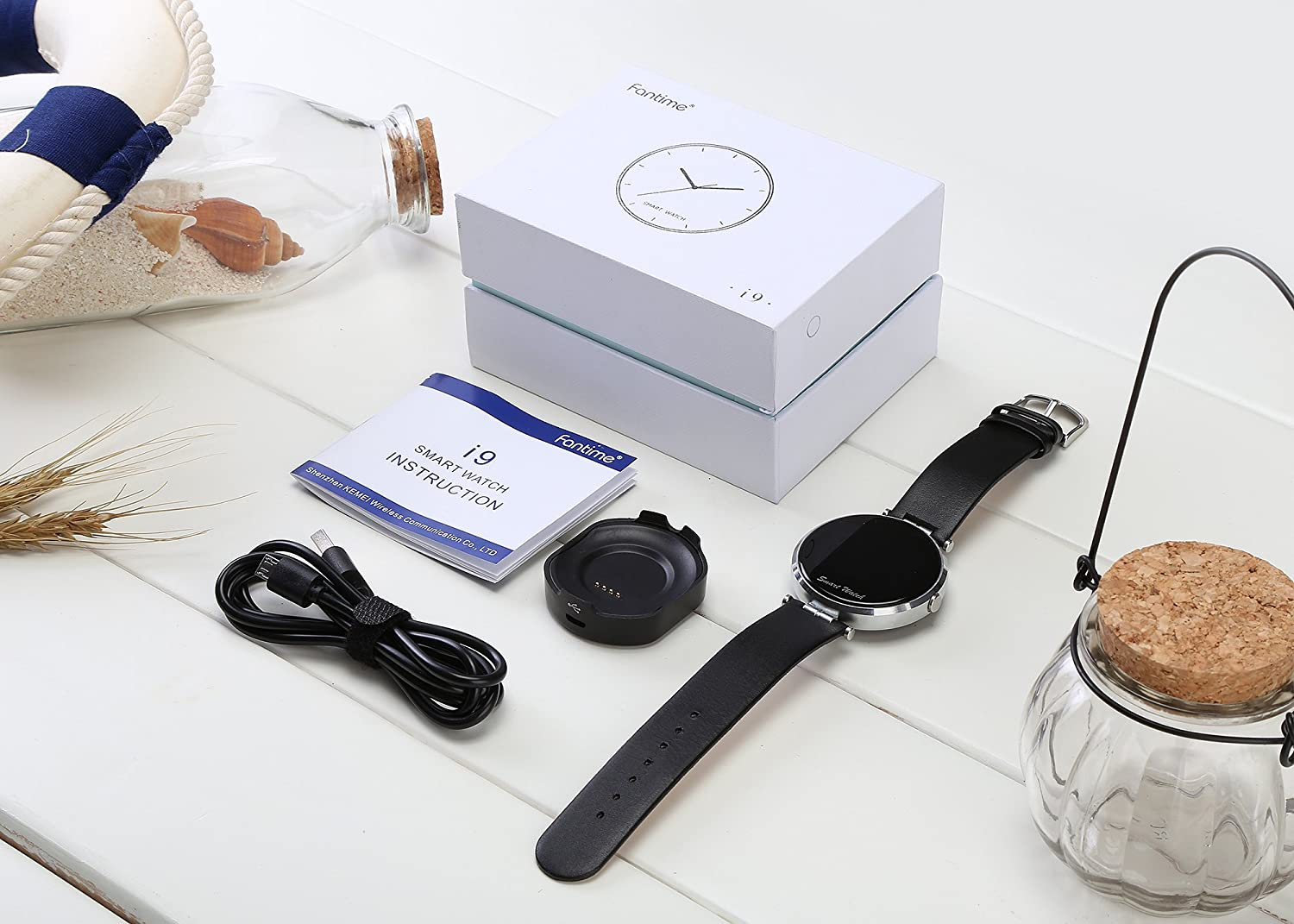Dial de reloj de muñeca reloj inteligente teléfono inalámbrico Bluetooth Smartwatches de pantalla para iPhone y Android I9 by fantime: Amazon.es: ...