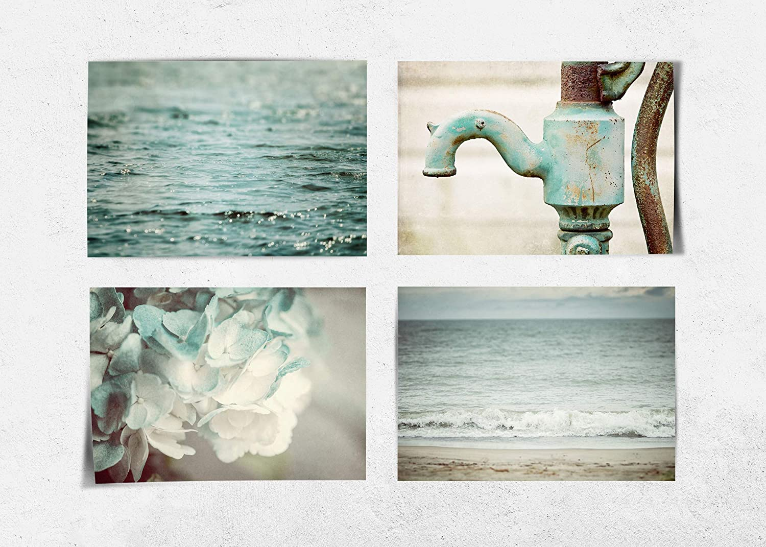 Amazon Com Shabby Chic Teal Bathroom Wall Art Decor Set Of 4 5x7 Prints Not Framed Rustic Farmhouse Beach And Floral Pictures Fba45 Handmade