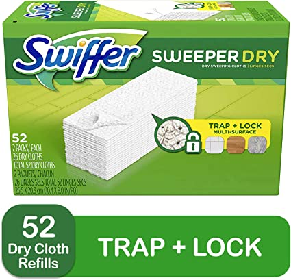 Swiffer Sweeper Dry Sweeping Pad Multi Surface Refills for Dusters Floor Mop Unscented 52 Count
