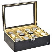 Porta-Relógios Total Luxo Couro Ecológico Preto Bege 12 Divisórias Maiores (3x4)