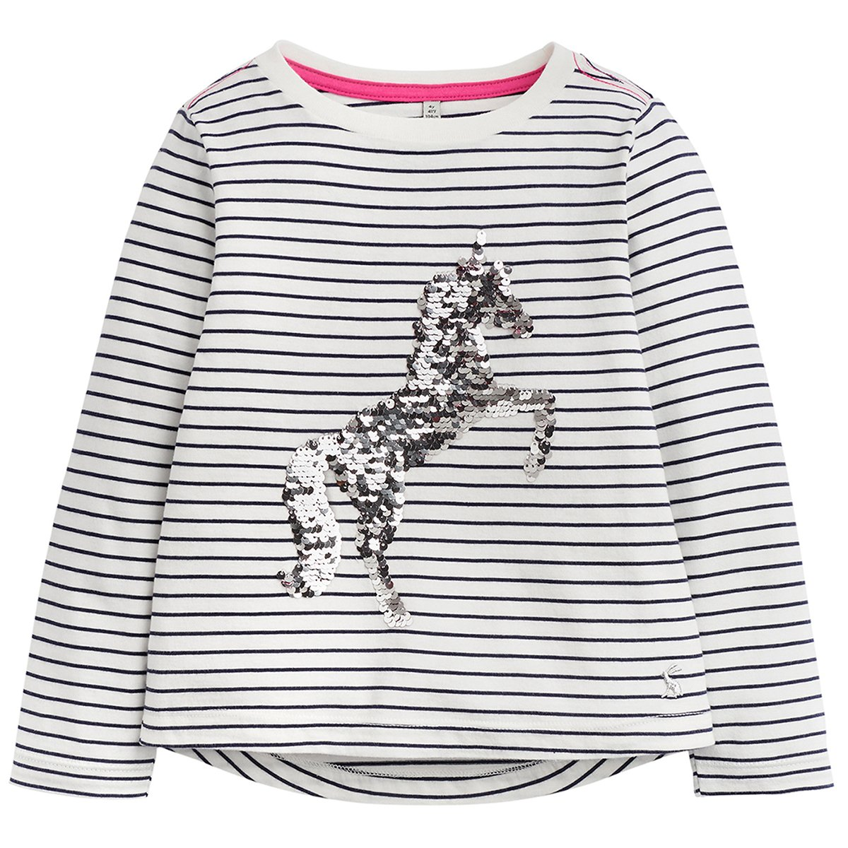 Joules Sequin Embroidered Top - French Navy Stripe Unicorn