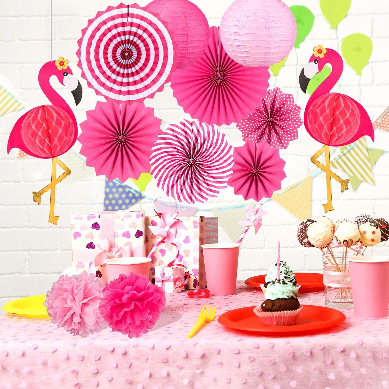 Hawai Sommer Party Dekoration f/ür Geburtstag Hochzeit Foto Hintergrund Whaline 15 St/ück Flamingo Party Deko,Rosa Papierf/ächer Pom Poms Papierblumen Papierlaternen Flamingo Banner