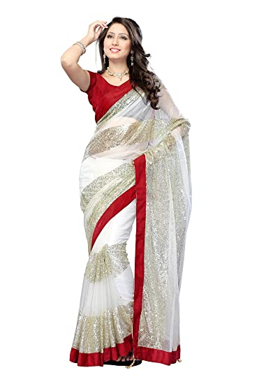 19cf4e504f Janasya Net saree in off white color: Amazon.in: Clothing & Accessories