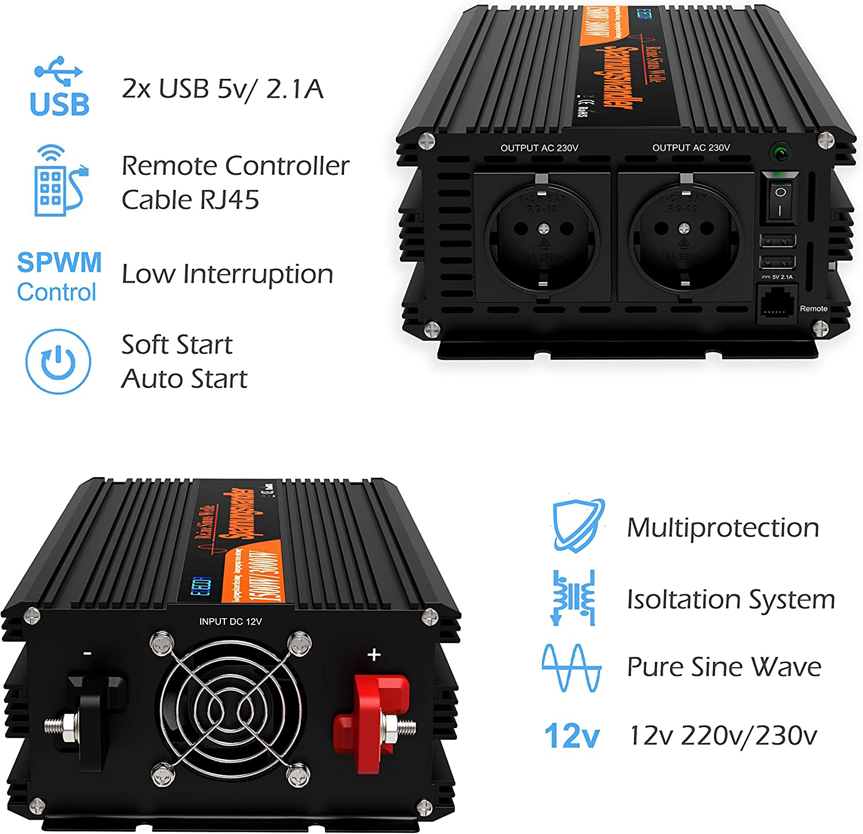 EDECOA inversor ONDA PURA 12v 220v convertidor 12v 220v 1500w y ...