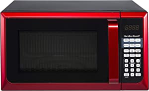 Hamilton Beach P90D23AL-WRR 0.9 cu.ft. Microwave Oven, Red/Stainless Steel