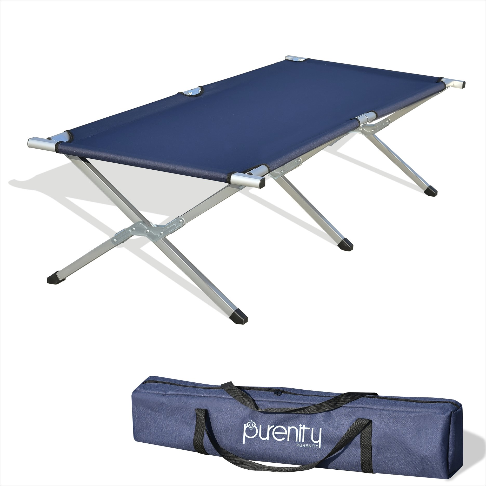 Purenity Folding Military Bed Portable Sport Camping COT With Free Storage Bag (Dark Blue) by Purenity