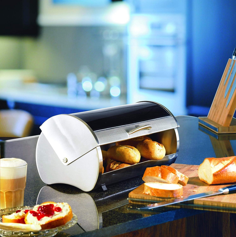 Stainless Steel// Safety Glass Breadbox GEFU Bread Bin Rondo 33600 with Lid