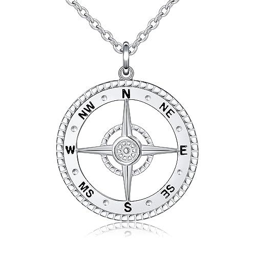 93178e801254 ALPHM S925 plata esterlina detallada brújula colgante collar para ...