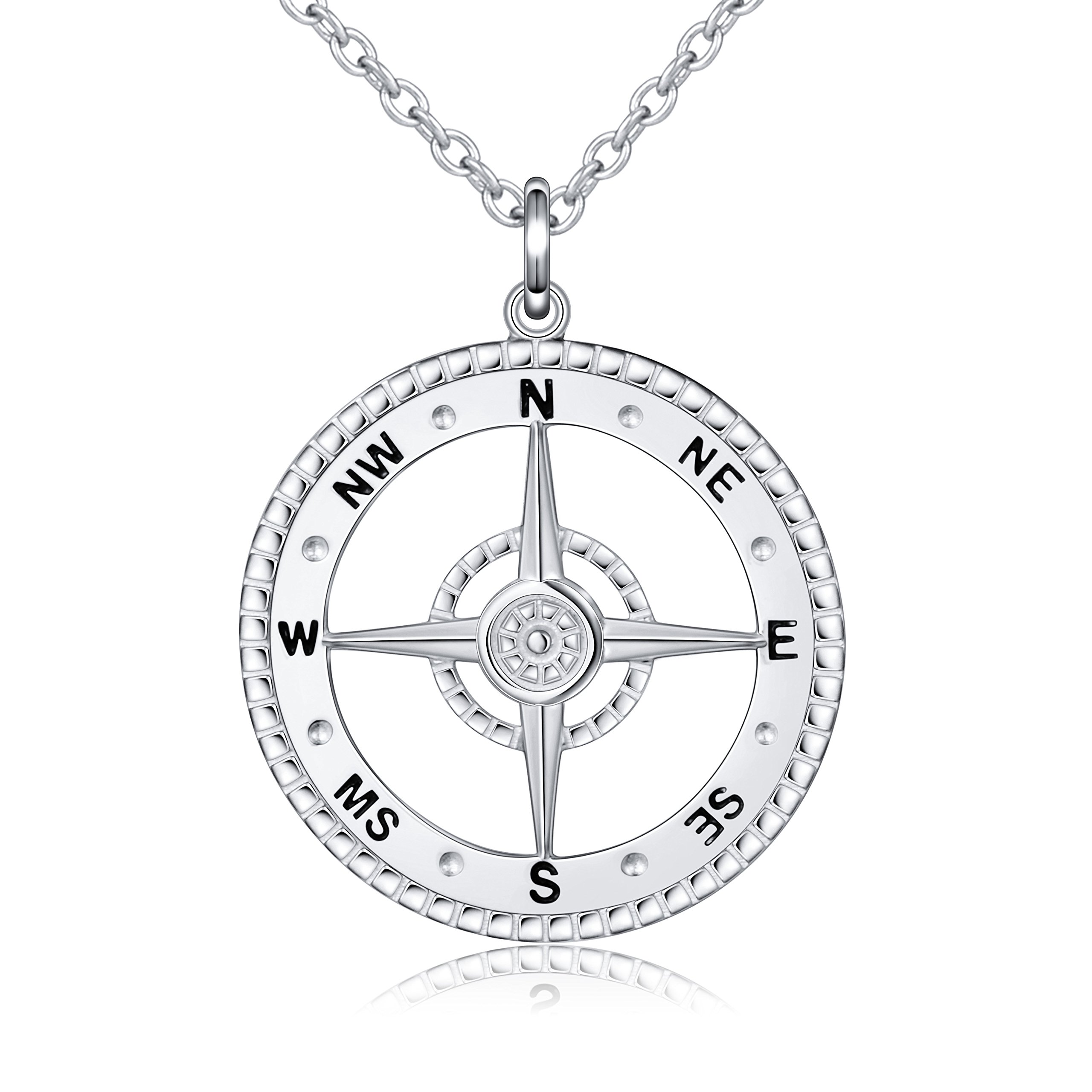 ALPHM S925 Sterling Silver Detailed large Compass Pendant Necklace 20 Inches Chain