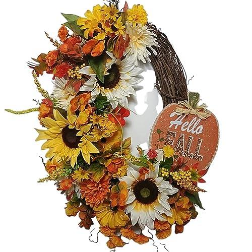 Amazon Com Hello Fall Wreath Grapevine Wreath Sunflower Door Decor Autumn Decoration Rustic Fall Wreath Front Door Autumn Decor Handmade