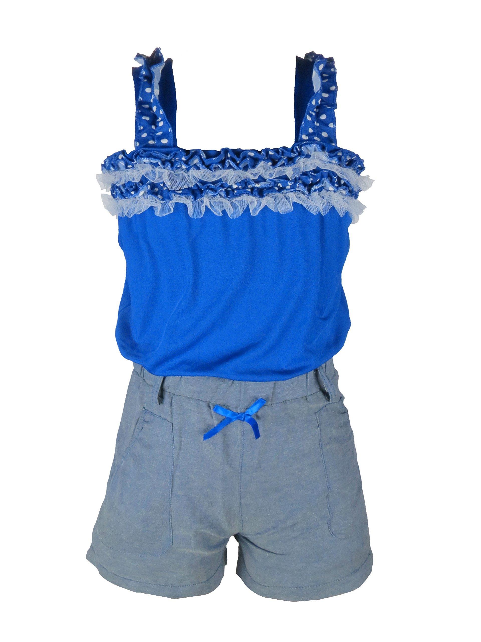 Crush Girls Polka Print Romper with Denim Shorts Bottom Royal Size 14/16