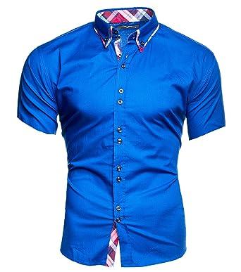 Kayhan Herren Kurzarm Hemd Hawaii Blau (S)