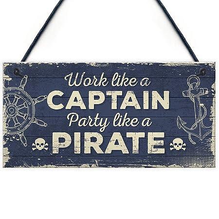 Divertido Cartel náutico de Capitán Pirata Bar Pub Man Cueva ...