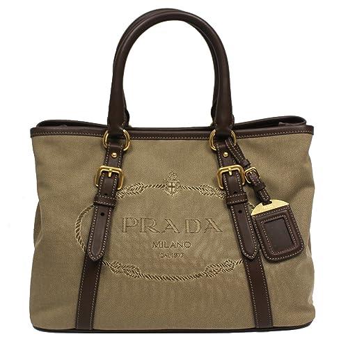 f72e2ebcf8c8 Prada Logo Jacquard Canvas Leather Satchel Bowling Bag with Shoulder Strap  1BA832: Amazon.ca: Shoes & Handbags