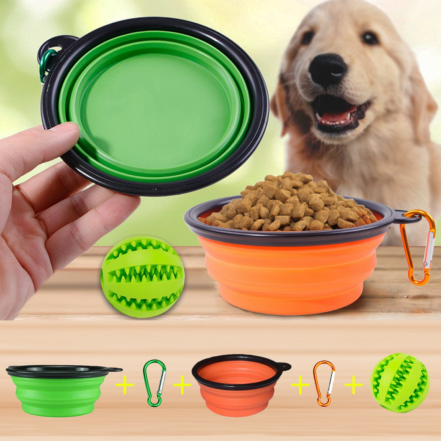 orange & Green 2 sets Collapsible Dog Bowls with IQ Training Toy Ball, Neodot Pet Food Water Feeding CollapsibleTravel Bowls with Non-Toxic Soft Rubber Silicone Toy Ball for Dogs Teeth Cleaning Chewing