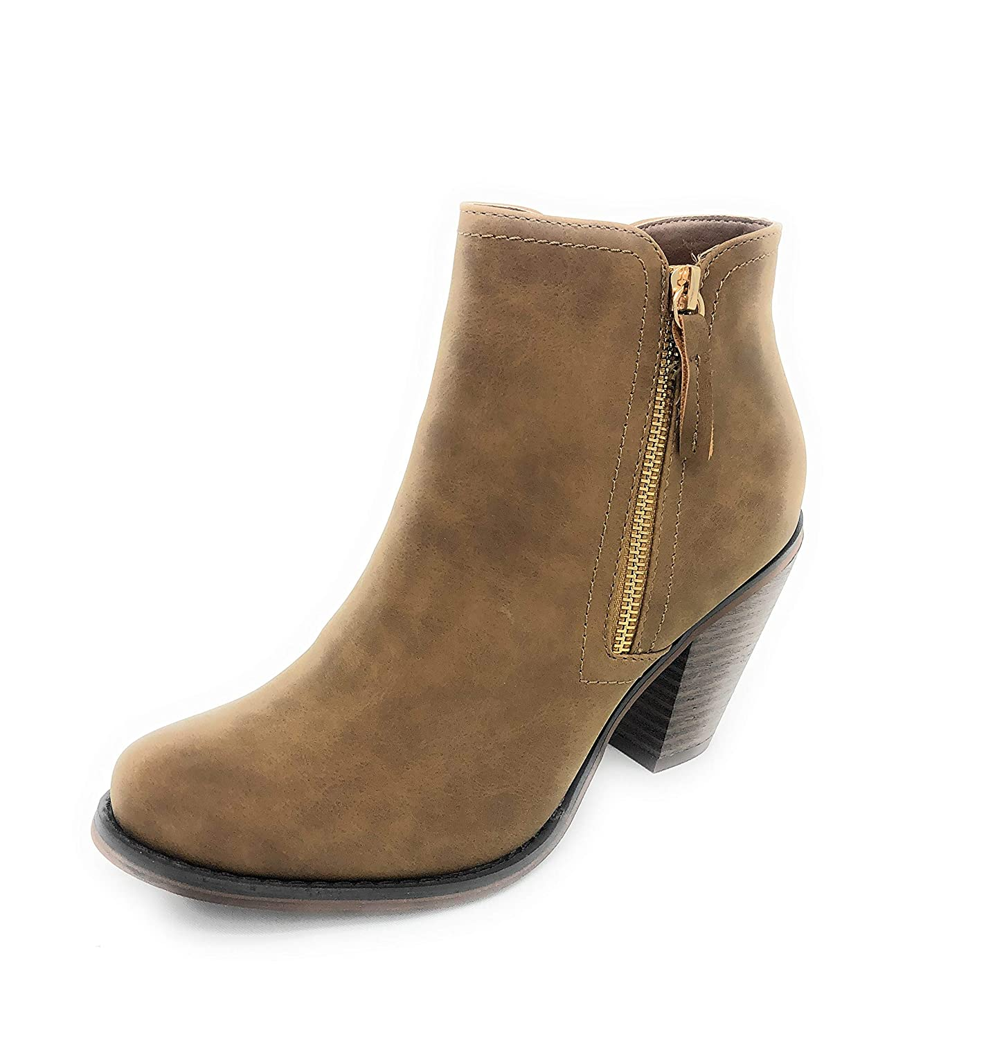 Tan-irene-08 SOLE COLLECTION Faux Leather Suede Strap Side Zipper Chunky Block Heels Dress Ankle Boots