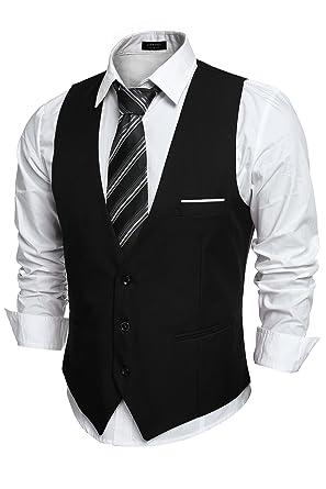 COOFANDY Men's V-neck Sleeveless Slim Fit Jacket Casual Suit Vests ...