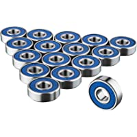 TRIXES 16x 608RS Skateboard Bearings - Frictionless ABEC 9 Roller Bearing for Skate boards