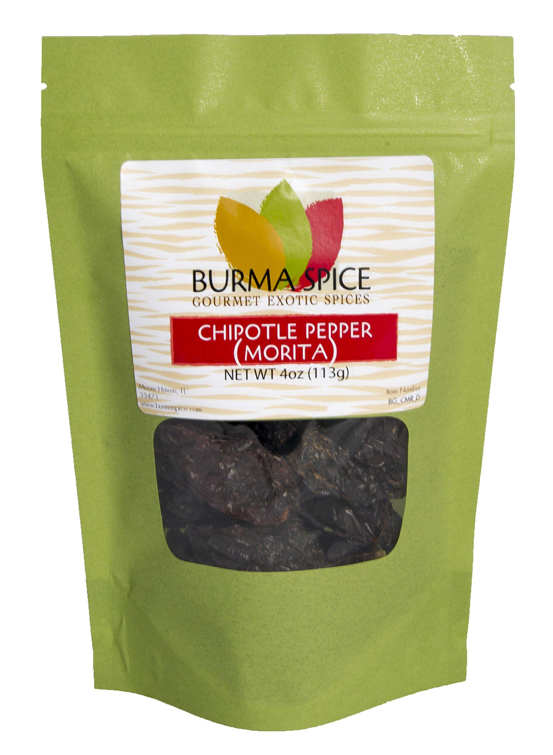 Dried Morita Chipotle Pepper Smokey Flavor Chile Kosher (4oz.) by Burma Spice (Image #1)