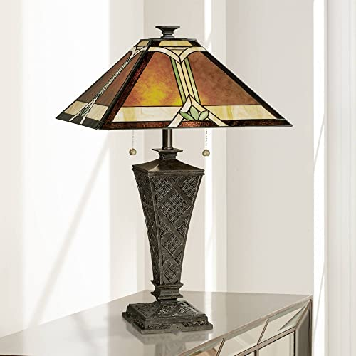 Mission Table Lamp Bronze Wicker Pattern Antique Stained Art Glass Shade for Living Room Family Bedroom Bedside – Robert Louis Tiffany