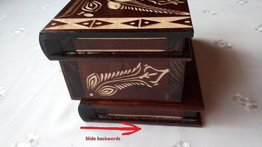 Caja puzzle nuevo grande marrón caja de joyas talladas caja mágica misterio caja de madera rompecabezas caja secreta trinket complicado cajón de madera caja ...