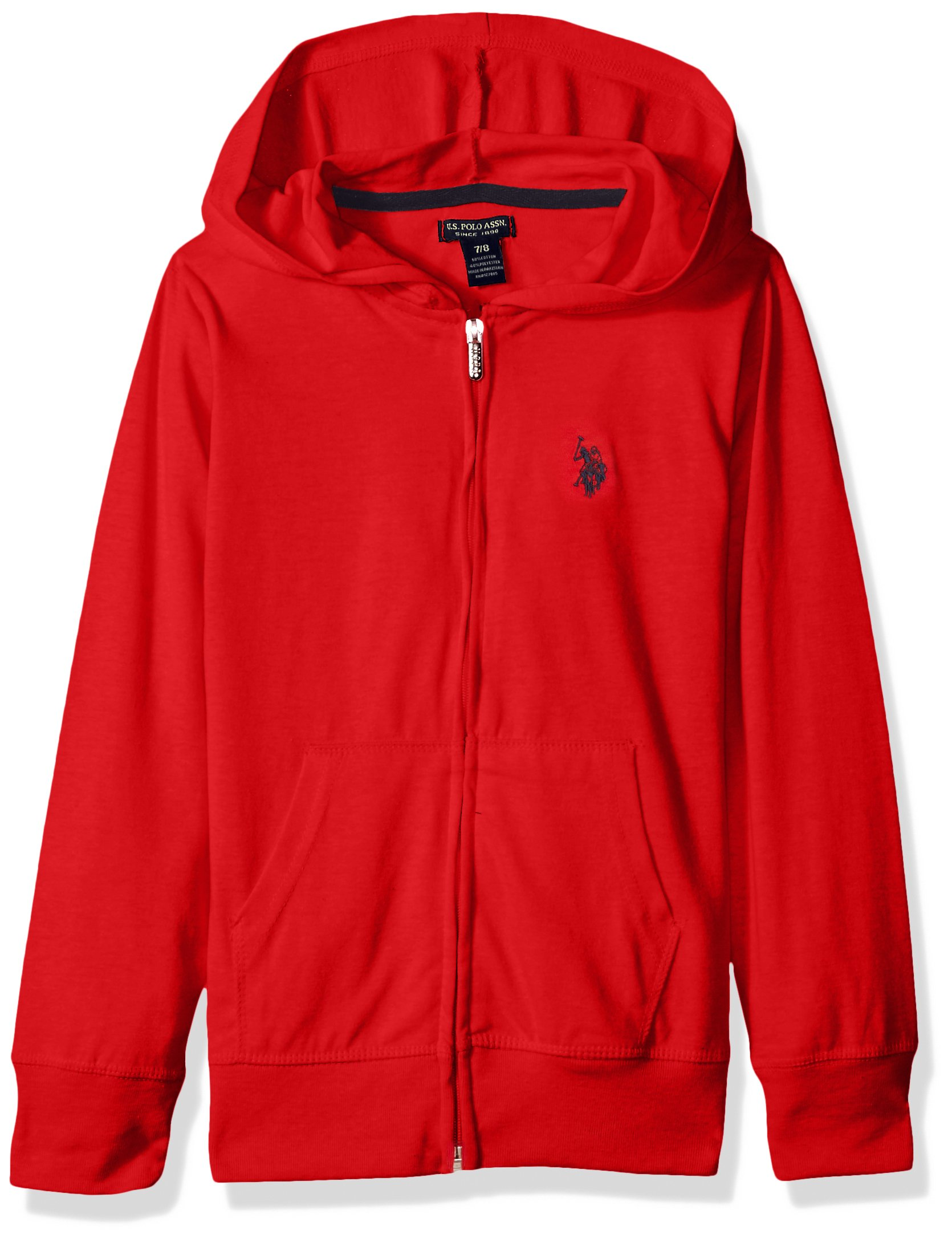 U.S. Polo Assn. Toddler Girls' Long Sleeve Zip up Jersey Hoodie, Red, 3T
