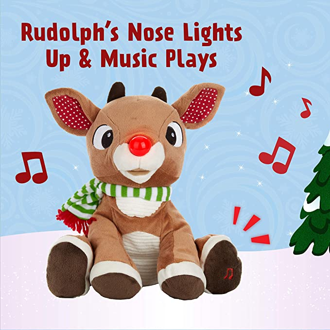 """Rudolph the Red-Nosed Reindeer 12/"""" Musical Lights Plush Christmas Gift Toy New"""