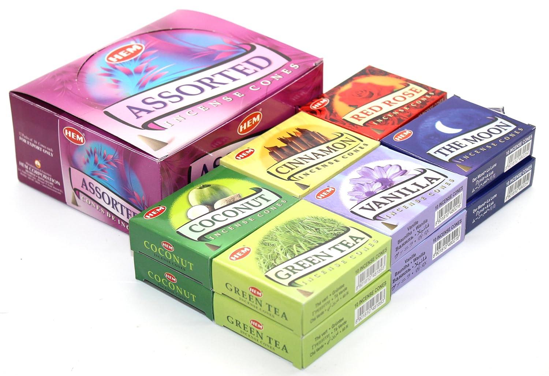 専門ショップ HEM Assorted Incense Vanilla, Cones - 12 Incense Packs B00KGG5XKA of 10 Cones Each - With 6 Different Scents: Vanilla, Cinnamon, The Moon, Green Tea, Coconut, Red Rose B00KGG5XKA, カワチナガノシ:01ce78b2 --- arianechie.dominiotemporario.com