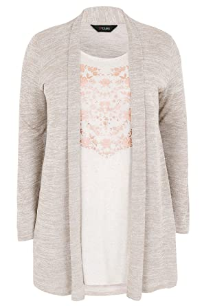 Womens Oatmeal & Rose Gold 2 In 1 Fine Knit Cardigan & Floral ...