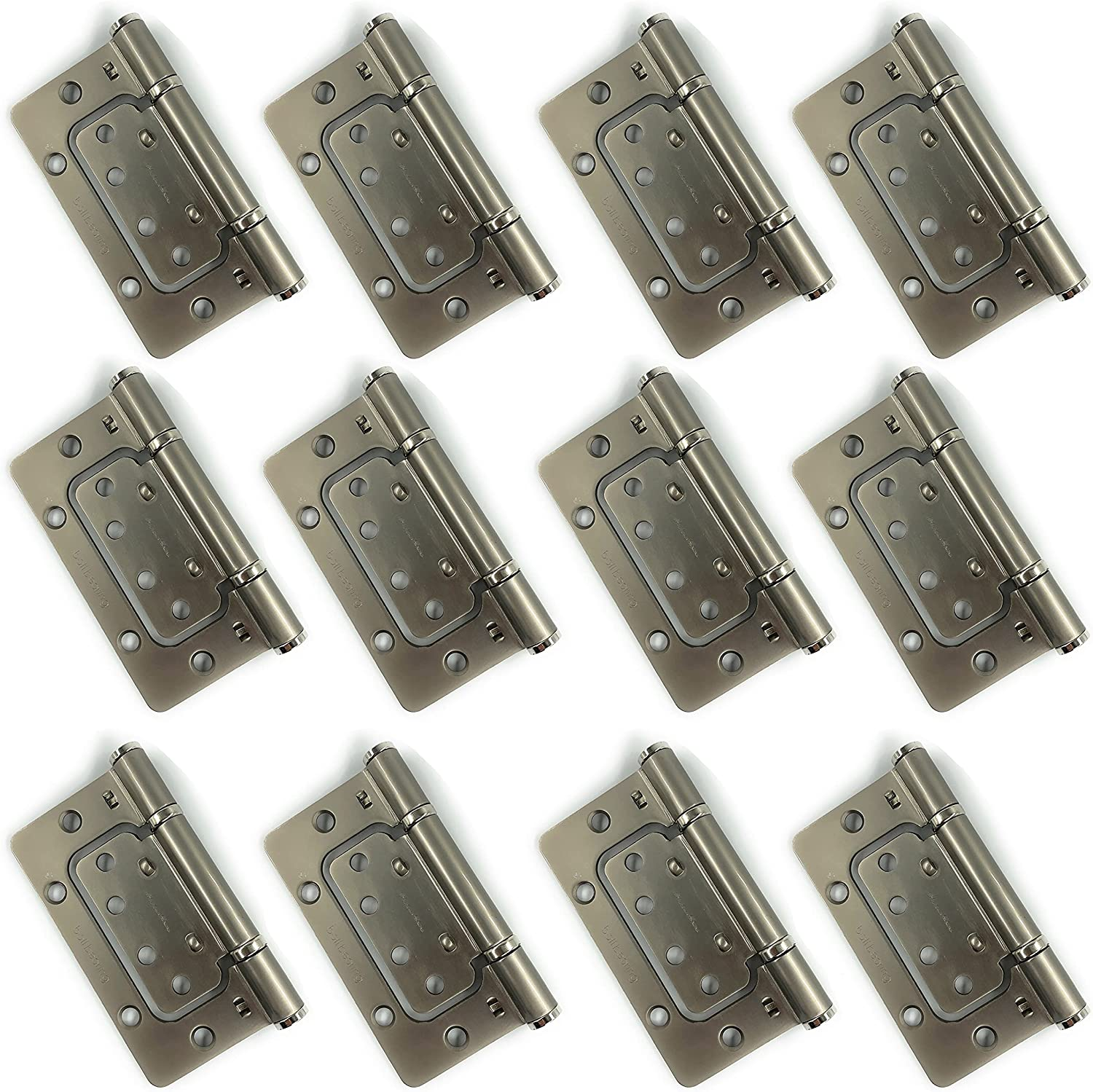 Jovely Heavy-Duty Polished Chrome Non-Mortise EZ Door Hinges 12 Pack, 3.5 inches 4 inches, 1/4